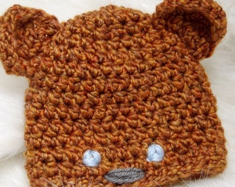 Crochet Baby Hat Pattern - Bear Newborn Hat -  birth to 3 month size - PDF pattern - Fun Photography Prop - Instant Download