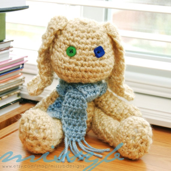 Cute Crochet Bunny Rabbit Pattern - Opie and Ophelia Bunny -  amigurumi pattern - Instant Download