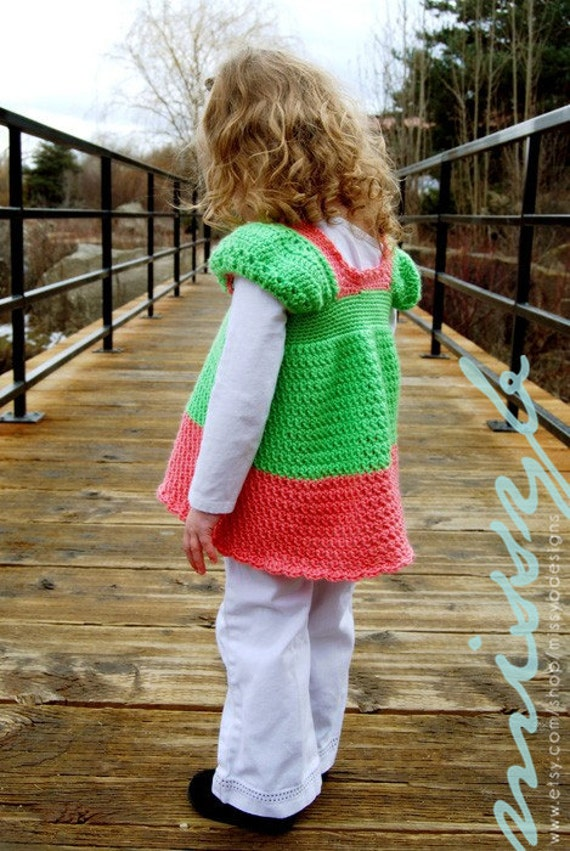 Crochet Girls Shirt Pattern - PDF pattern - Clarabelle Shirt with Sleeves - Make it Any Custom Size - Instant Download