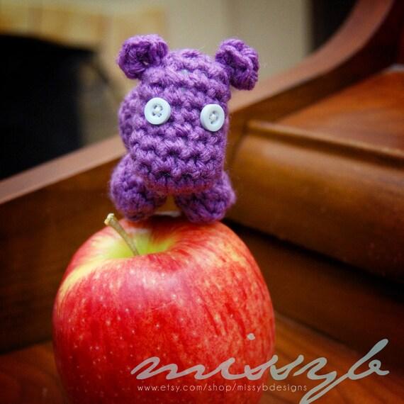 Tiny Crochet Hippo Pattern - Miniature Stuffed Hippo Toy  - amigurumi pattern - Instant Download