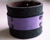 Leather Cuff Bracelet - Purple and Black with Floral Pattern