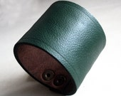Sale - Dark Forest Green Leather Cuff Bracelet