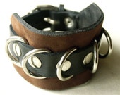 Leather Cuff Bracelet - Brown and Black with Metal D-Rings