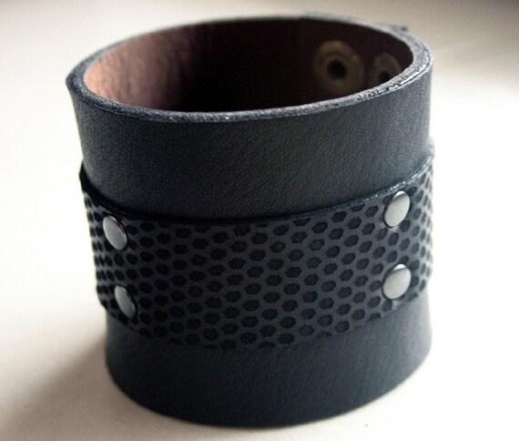 Mens Black Leather Cuff Bracelet