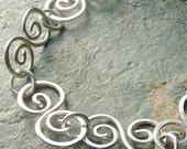 Silver Swirl Bracelet Sterling Silver Swirls Handmade eco friendly jewelry summer fashion, Ocean Waves