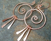 Hoop Earrings Coiled Hoops Copper Fringe Drops, eco friendly copper jewelry
