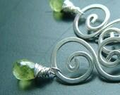 Peridot Dangle Earrings Sterling Silver Wire Wrap Peridot Drops Silver Swirls eco friendly birthstone jewelry, Ivy