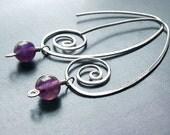 Silver Hoops Amethyst Earrings Sterling Silver Coils, Long Hoops February birthstone eco friendly jewelry