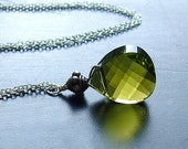 Green Crystal Necklace Sterling Silver jewelry stramd necklace summer fashion, Palm