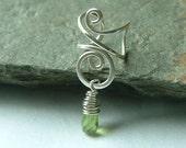 Silver Ear Cuff Sterling Silver Wire Wrapped Peridot Earcuff Eco Friendly No Pierce August birthstone jewelry