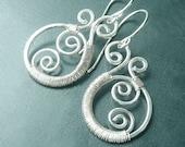 Silver Paisley Earrings Wire Wrap Earring drop Sterling dangle earrings recycled eco friendly spring fashion jewelry