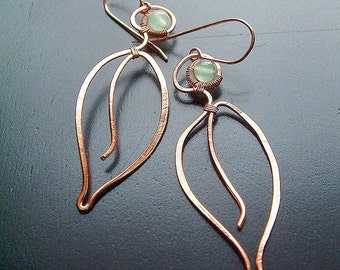 Long Copper Earrings Long Leaves Wire Wrap Green Aventurine botanical copper jewelry for Women