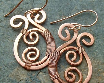 Copper Paisley Earrings Copper Wire Wrap Drop Dangle Earring copper jewelry eco friendly gift for women