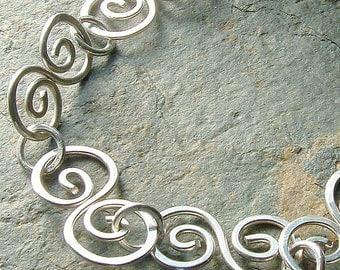 Silver Chain Bracelet Sterling Silver Handmade Swirl Link eco friendly women jewelry for her