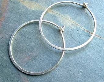 Silver Hoop Earrings Sterling Silver Medium Hoops, organic silver hoops eco friendly minimalist jewelry gift for women