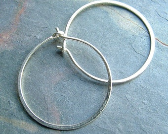 Silver Hoop Earrings Medium Sterling Silver Hoops, Simple Hoop minimalist jewelry, gift for her, women Gift,