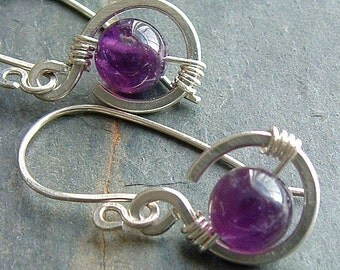 Silver Coil Earrings Small Dangles Amethyst Silver Wire Wrap Drop eco friendly February birthstone jewelry for women
