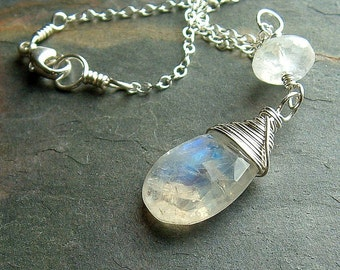 Silver Moonstone Necklace Wire Wrap Moonstone Birthstone necklace spring fashion eco friendly jewelry