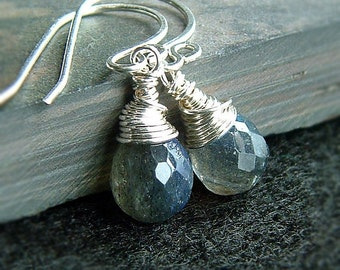 Labradorite Earrings Tiny Labradorite Drops Silver Dangle Wire Wrap gemstone womens jewelry gift for her, wife gift birthstone