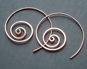 Copper Hoop Earring Coils Hammered Hoops, Unraveled, modern minimalist copper jewelry holiday gift idea for Women
