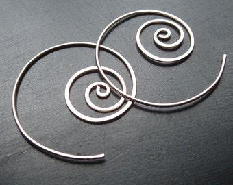 Sterling Silver Hoops Unraveling Hoop Earrings, Nautilus spiral, koru spiral, eco friendly open hoop earrings womens jewelry gift for her