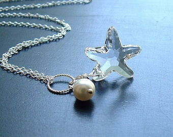 Starfish Necklace Sterling Silver Clear Crystal Star, Jewelry Gift for Her, Gift for Mom, girlfriend, womens