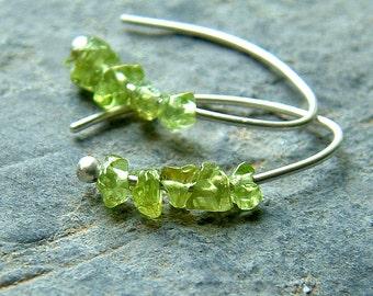 Silver Hoop Earrings Peridot Tiny Open Hoops Sterling Silver Hoop Earrings eco friendly birthstone jewelry for Women