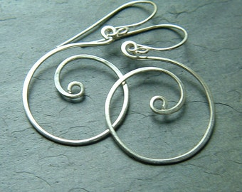 Silver Earrings Coiled Sterling Silver Hoops Spring fashion Hoop Dangle Earring eco friendly jewelry
