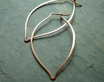 Gold Hoop Earrings Leaf Hoops Rose Gold Filled minimalist jewelry nature inspired gift for women