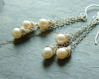 Pearl Earrings White Freshwater Pearls Silver Wire Wrapped winter holiday fashion june birthstone