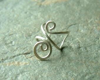 Silver Ear Cuff Simple Swirl Single Sterling Silver Earcuff eco friendly minimalist jewelry