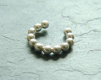 Silver Beaded Earcuff Simple Single Sterling Silver Ear Cuff, eco friendly minimalist womens jewelry