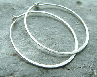 Large Hoop Sterling Silver Hammered Hoops 1.5 inch hoop brushed finish, eco friendly geometric jewelry, gift for her