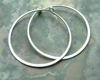 Sterling Silver Hoops, Silver Hoop Earrings, Hammered Silver Hoop Earrings, Simple Hoops Eco Friendly, Brushed Finish