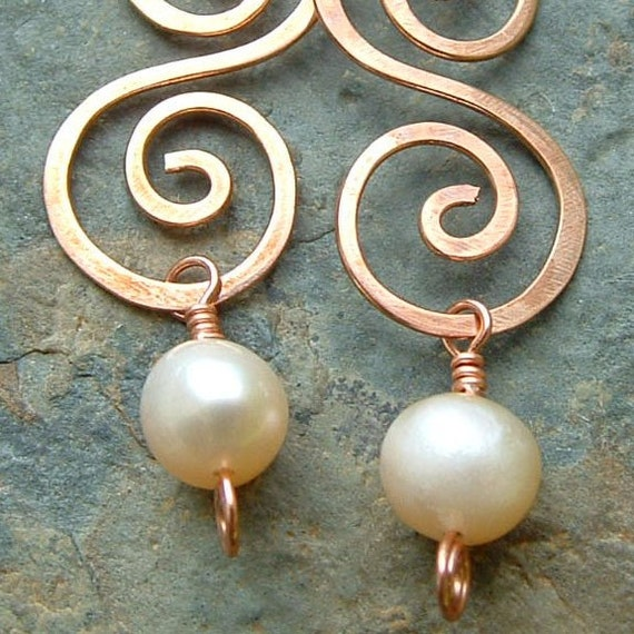 Pearl Earrings Creamy Freshwater Pearl Copper Swirl summer fashion copper jewelry june birthstone
