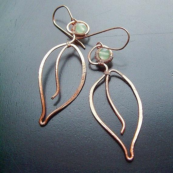 Long Copper Earrings Long Leaves Wire Wrap Green Aventurine botanical copper jewelry for Women
