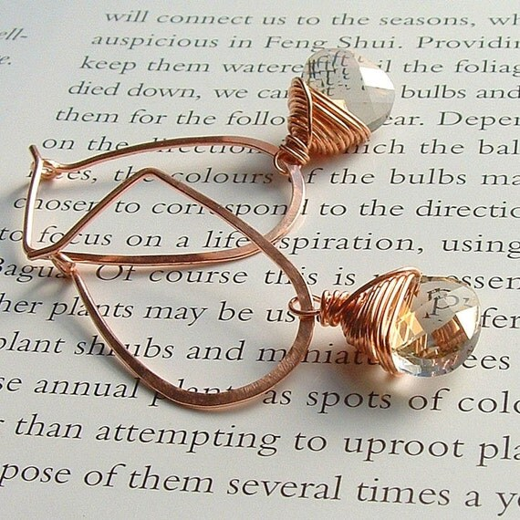 Hoop Dangle Earrings Crystal Drop Hoops Oval Hoop copper jewelry eco friendly jewelry
