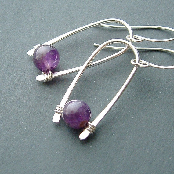 Silver Inverted Hoops Sterling Silver Hoop Earrings Amethyst Earrings Pearl Birthstone Jewelry, choose your stone