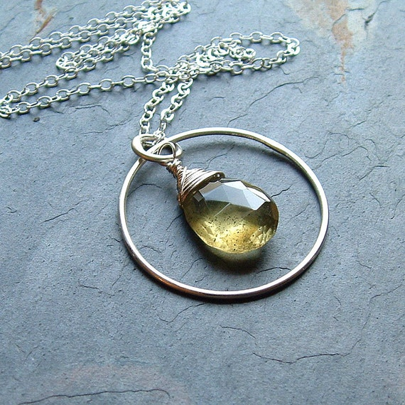 Moss Aquamarine Necklace Sterling Silver, Woodland fall fashion jewelry