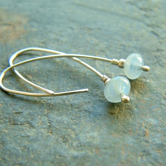 Silver Hoop Earrings Pastel Blue Sterling Silver Open Hoops eco friendly jewelry