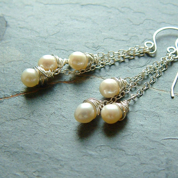 Pearl Earrings Sterling Silver White Pearls Wire Wrapped Dangle Earring, Gift for Women, Jewelry gift for her