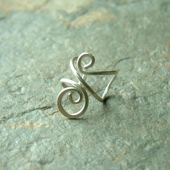 Silver Ear Cuff Simple Swirl Single Sterling Silver Earcuff eco friendly minimalist jewelry