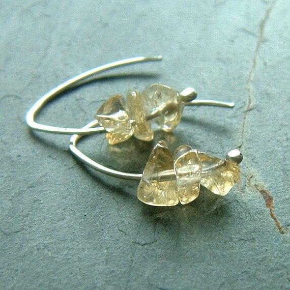 Small Silver Hoop Earrings Citrine Open Hoops raw citrine November birthstone jewelry