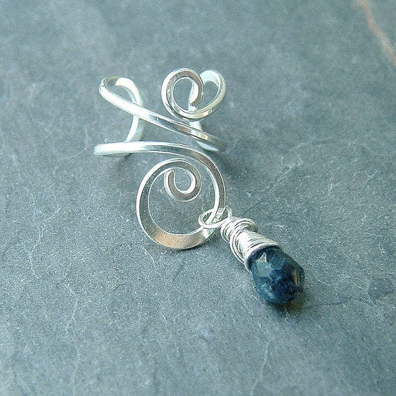 Sterling Silver Ear Cuff Silver Wire Wrapped Blue Iolite Earcuff, fall eco fashion eco friendly jewelry