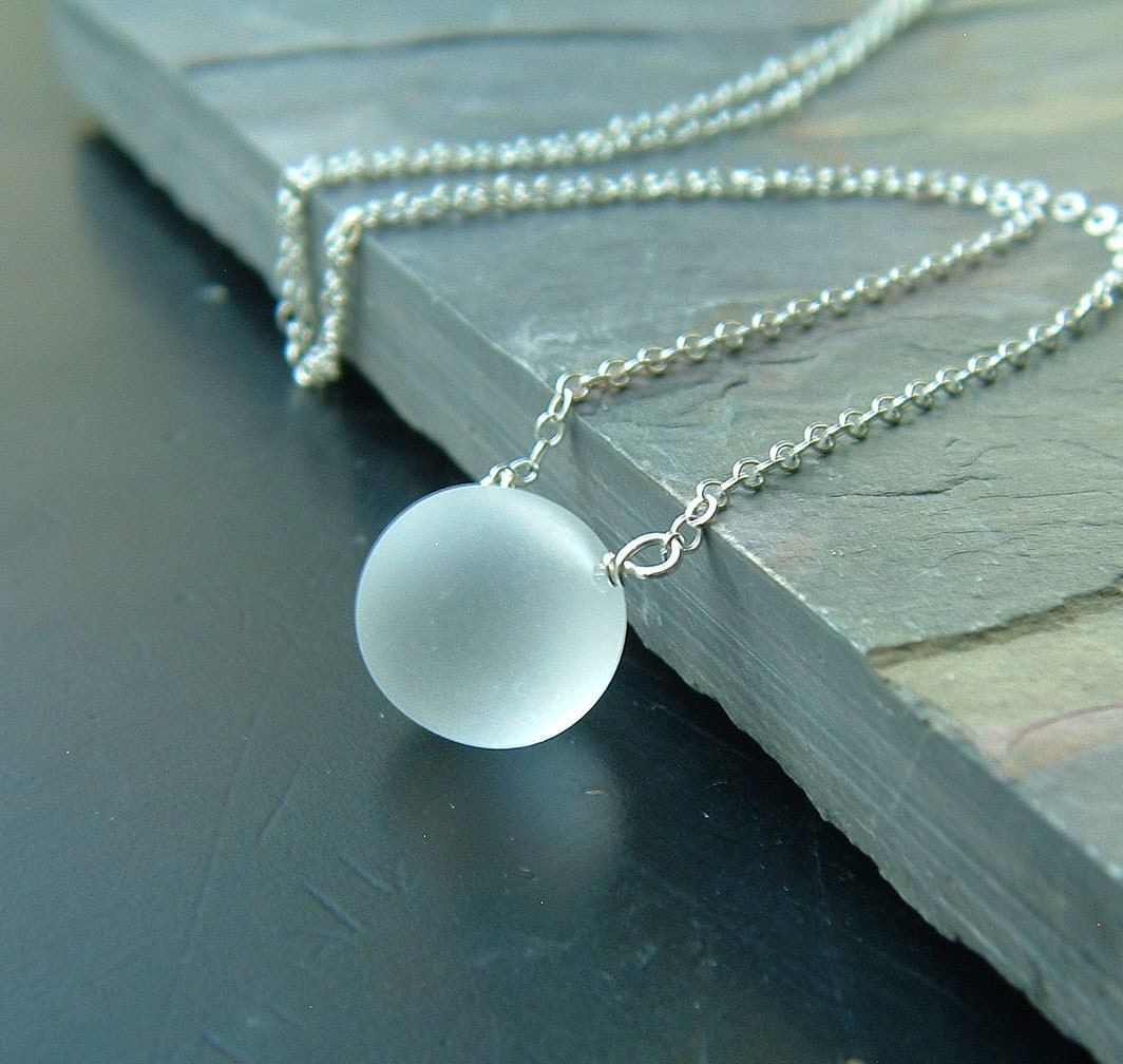 reserved for glass necklace frosted clear glass