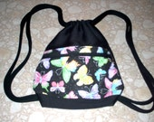 Black backpack with butterfly