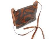Vintage brown leather crossbody purse. horses handbag