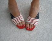 Vintage size 8 1/2 stars and stripes sandals slides shoes