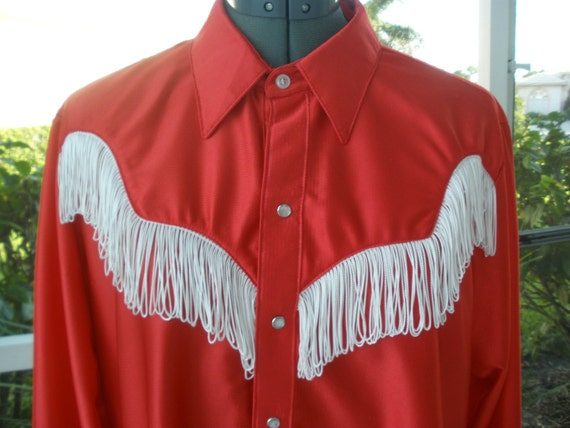 Vintage Rockmount Ranch Wear Western Shirt Red With Fringe