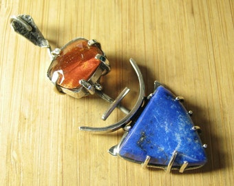 Sterling Silver Sunstone and Lapis Lazuli Deva Pendant